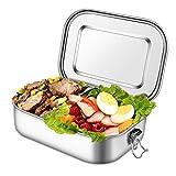 unibelin Edelstahl Brotdose Auslaufsicher Bento Box BPA frei 1400ml Lunchbox mit Abnehmbarer...