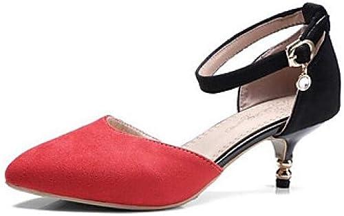 Weier. Ben Chaussures à Talons pour Femmes Talon Aiguille, Poils, Confort, été, Orange, Rouge Vert Tous Les Jours@Rouge_US8.5   EU39   UK6.5   CN40