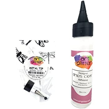 Art Glitter Glue Designer Dries Clear Adhesive 2 oz with Ultra Fine Metal Tip