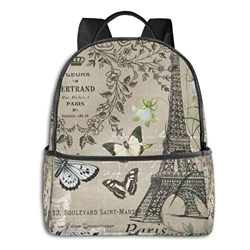 School Backpack Lightweight Teen Girls Women Kids Computer Notebooks Daypack Bookbagparis Tower Butterfly Flowers Ergonomic for Work Travel College Ideal Choice