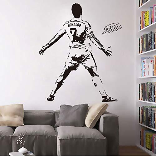Fútbol Deportes Fútbol Estrella Jugador Juven-tus FC Cristiano Ronaldo CR7 Firma Etiqueta de la pared Calcomanía de vinilo Niños Fans Dormitorio Sala de estar Club Decoración para el hogar M