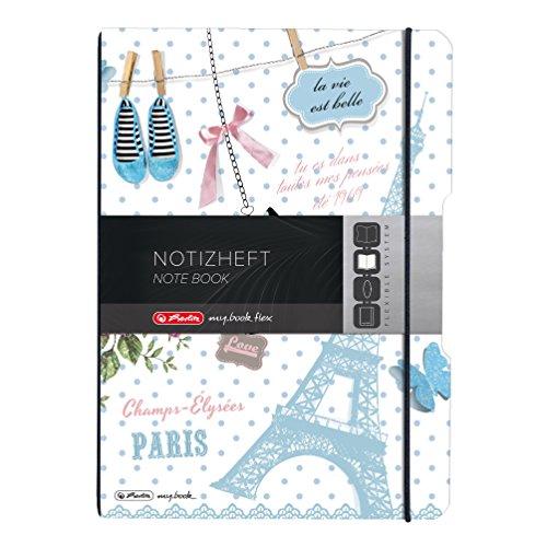 Herlitz 11415494 Notizheft my book flex Design, A4, 40 Blatt kariert und liniert, PP-Folie Paris