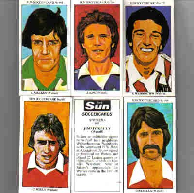 The Sun 70's Soccercards 'Walsall FC' football cigarette cards x 5