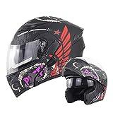 Flip Up Moto Casco Prese d'Aria Aperte/Chiuse Visiera Parasole Antiappannamento Doppia Lente Certificata DOT Adulto Unisex Full Face Racing Casco