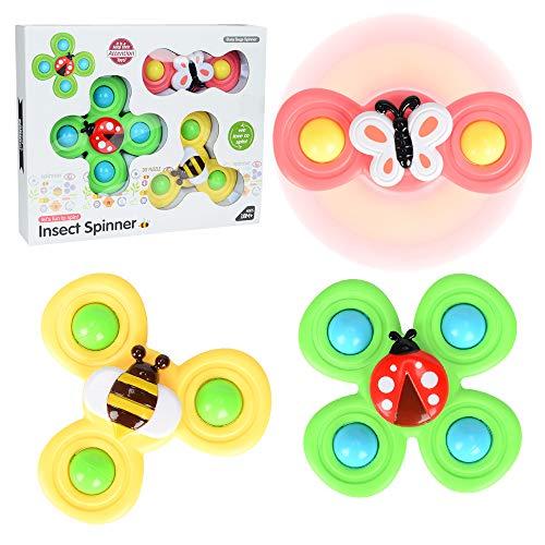 SPECOOL Giocattolo Gyro Insect Sucker, Giocattoli da Vasca per Bambini, Busy Bugs Spinner, Cena a tavola lenire Sonaglio per Bambini e Bambine (Insetto)