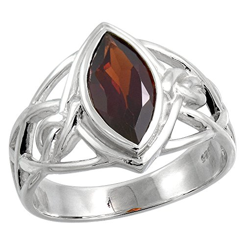 Sterling Silver Celtic Knot Ring with Natural Garnet 1/2 inch Wide, Size 10