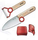 Opinel Kinder - Kochmesser - Set, Messer mit Abgerundeter Spitze, Sparschäler, Fingerschutz