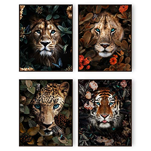 Jungle Safari Animal Wall Art Prints Poster Lion Tiger Leopard Canvas Wall Decor Set of 4 Animal Wall Pictures for Living Room Home Decor (8 x10  Unframed)