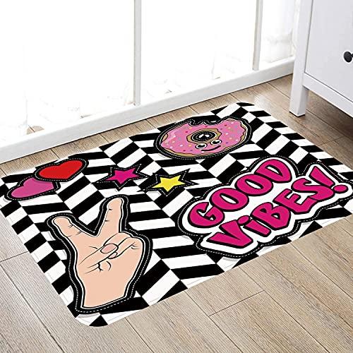 Alfombra de baño súper Suave de 50 x 80 cm,Buenas Vibraciones, Dibujos Animados Pop Art Emoticonos Donut Corazones y Estrellas V Signo de la Alfombra de baño Absorbente Antideslizante