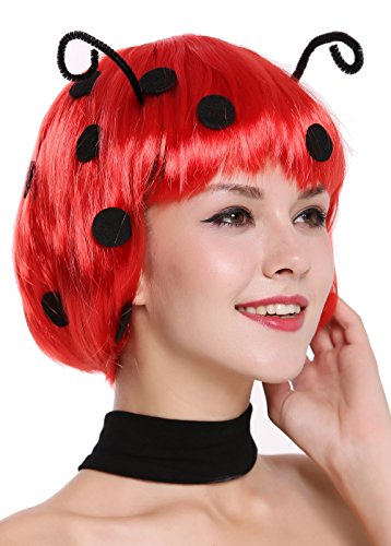 WIG ME UP - 91574-ZA13 Perücke Damen Karneval Fasching Marienkäfer Ladybug Bob rot Schwarze Punkte Fühler