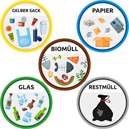 trashnice 5er Set Aufkleber Mülltrennung Aufkleber Mülltonne Abfalleimer Set Abfall Abfalleimer-Aufkleber 95 mm, Gelber Sack, Biomüll, Papier, Glas und Restmüll. Mülltonnen Abfalltrennung Müllsorten