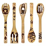 Unique Pattern Burned Wooden Spoons Nightmare Kitchen Slotted Spoon House Warming Presents Bamboo Utensil Set