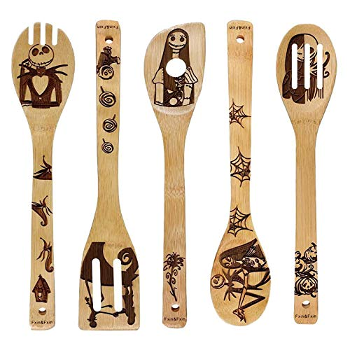Fun Pattern Burned Wooden Spoons Nightmare Kitchen Slotted Spoon House Warming Presents Bamboo Utensil Set