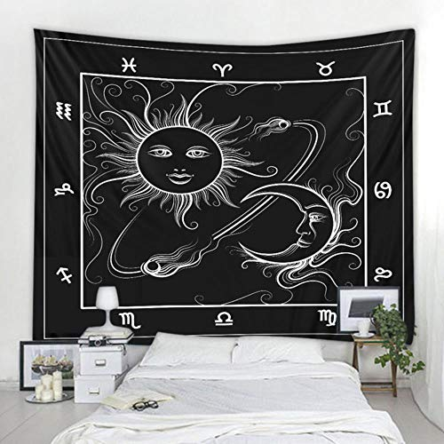 Miwaimao Hot sun and moon goddess print black and white color tapestry tapestry decorative background of various sizes,Dark khaki,2000 MMX1800 MM