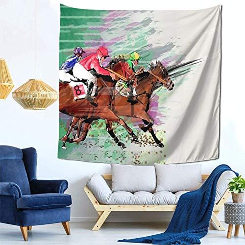 huatongxin Horse Racing 8 Funny Cortina de Tapiz Impresa para la decoración del hogar del Dormitorio de la habitación de los niños in 59'' X 59'' Inch Tapiz de Pared