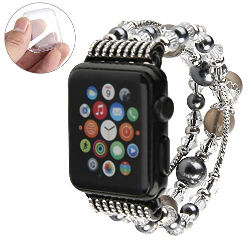 GEMEK Compatible With Black Apple Watch Band 38mm 40mm Women Agate Pearl Bracelet Strap, Fashion Handmade Elastic Replacement for iWatch Bands Series 6/5/4/3/2/1 Girls Wristband (Gray 38mm)