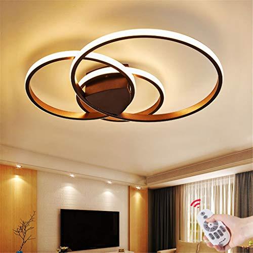 Acryl Deckenleuchte schmiedeeiserne runde Wohnzimmerlampe LED Modern Design Deckenlampe Metall Kronleuchter für Esszimmer Küche Schlafzimmer Bad Decke Leuchten Braun 54W Three circles