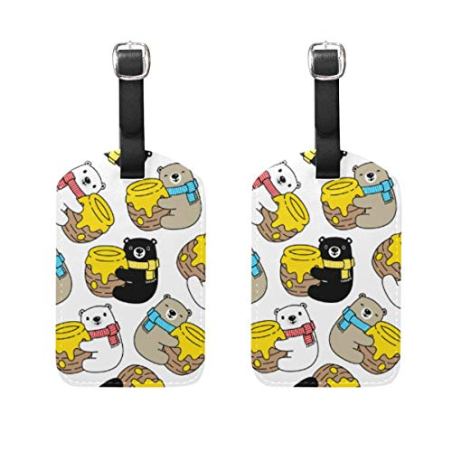 QiHouse Cute Brown Bear White Black Travel Luggage Tags Holding Honey Pot Q Version Suitcase Bag Tags Carry-On ID Tags with Black Strap 5031073