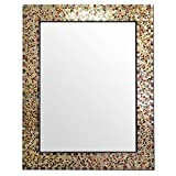 Multi-Colored & Gold, Luxe Mosaic Glass Framed Wall Mirror, Decorative Embossed Mosaic Rectangular Vanity Mirror / Accent Mirror (30' x 24' Gemstone Color)