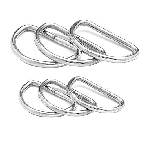 BlueXP 50 Stück Metall D-Ringe Schnallen 32mm und 38mm Halbrundringe Vernickelt Loop Ring für Nähen Tasche oder Geldbörse Griffe Gurt Band Silber