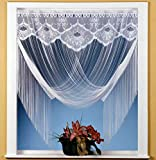 Fadengardine Vorhang Scheibengardine raffbar edler Jacquard weiß mit Blumen Borte - HxB 205x100 cm dekorierbar als gerader Store oder Raffgardine KÜRZBAR ...auspacken, aufhängen, fertig!...