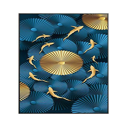 WSNDGWS Decoración del hogar Goldfish Group Lienzo Pintura Decorativa sin Marco D1 30x60cm