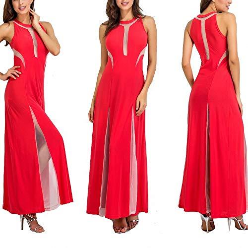 Yuhualiyi123 Kleid sexy Abendkleid Rundhals Kontrastfarbe Nähen Perspektive Wischrock