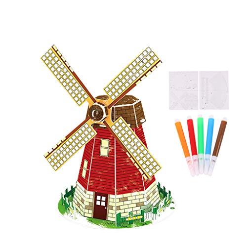 Yowablo Puzzle DIY 3D Handzeichnung Modell Karton Puzzle zusammengebaut 3ml ( 13*13*20cm,A )