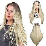 YMHPRIDE 22 pulgadas Ombre pelucas rubias moda marrón oscuro raíz mezcla rubia sintética larga recta parte media peluca para mujeres