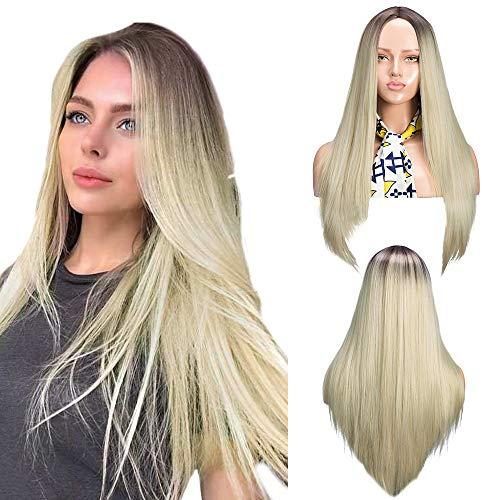 YMHPRIDE 22 pouces Ombre Blonde Perruques Mode Brun Foncé Racine Mixte Blonde Résistant À La Chaleur Synthétique Longue Droite Partie Moyenne Perruque pour les Femmes