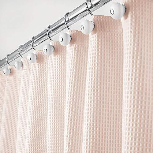 mDesign Luxus Duschvorhang – weicher Badewannenvorhang mit Waffelmuster – leicht zu pflegener Duschvorhang – rosafarben