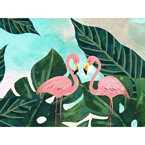 DIY 5D Diamond Painting by Number Kits,Full Crystal Rhinestone Diamond Embroidery Paintings Arts Wall Decor Two Flamingos 15.7x11.8 in By Bemaystar