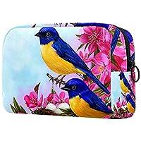 コンパクトメイクアップバッグポータブルトラベルコスメティックバッグ 女性用女の子トイレタリーバッグ,鳥の花