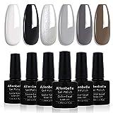 Allenbelle Smalto Semipermanente Smalti Semipermanenti Per Unghie Nail Polish UV LED Gel Unghie(Kit di 6 pcs 7.3ML/pc) 007