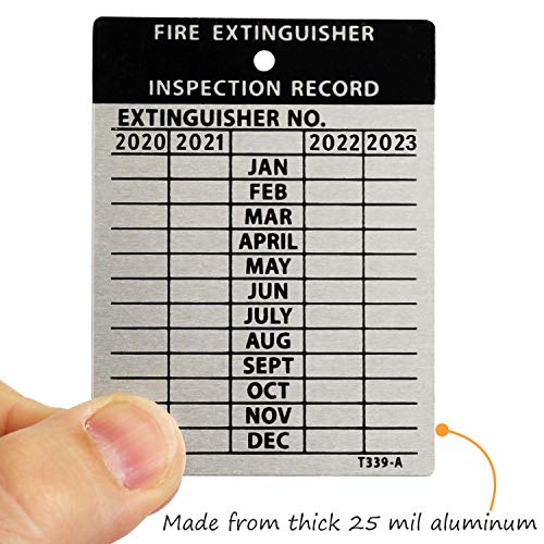 SmartSign Fire Extinguisher Tags, Inspection Tags, Record 4-Year Maintenance Tags, 3 x 2.25 Inches Heavy Duty Aluminum, Pack of 10