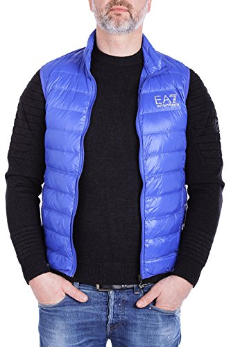 EA7 Emporio Armani Herren Weste - Lightweight Dauenweste Daunenjacke leichte Jacke mit Stehkragen, gesteppte Optik, Farbe:Blau;Größe:XXL