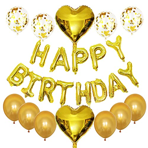 Decoracion Cumpleaños, Globos Happy Birthday, Globos de Oro, Decoración Comunión, Globos De Cumpleaños, Decoracion Cumpleaños Niña, estandarte Dorado