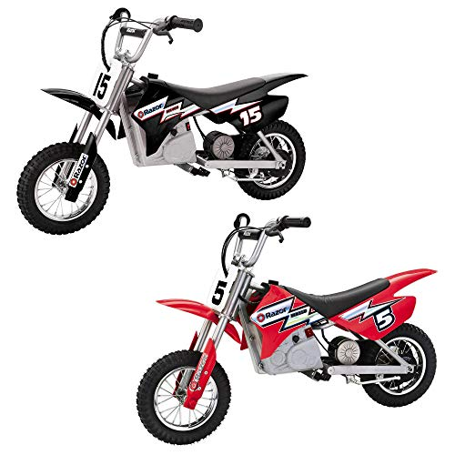 Razor Dirt Rocket Ride On 24V Electric Toy Motocross Motorcycle Dirt Bike, Speeds up to 14 MPH, 1 Black MX400 & 1 Red MX350