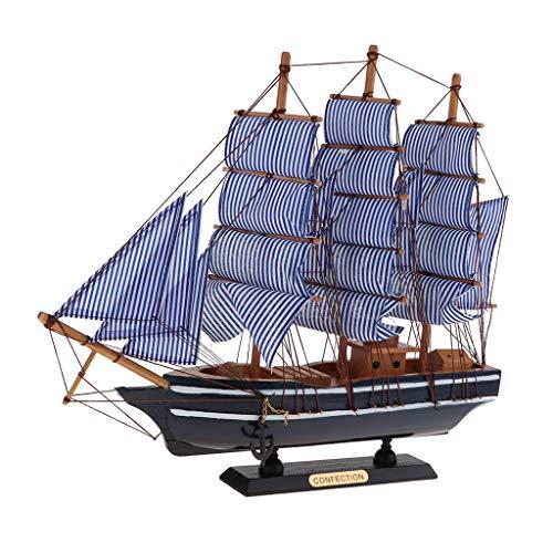FLAMEER 1 Stück Segelschiffmodell Handwerks-hölzernes Segelboot-Modell-Mittelmeerpiraten-Schiff aus Holz - 360x85x410mm