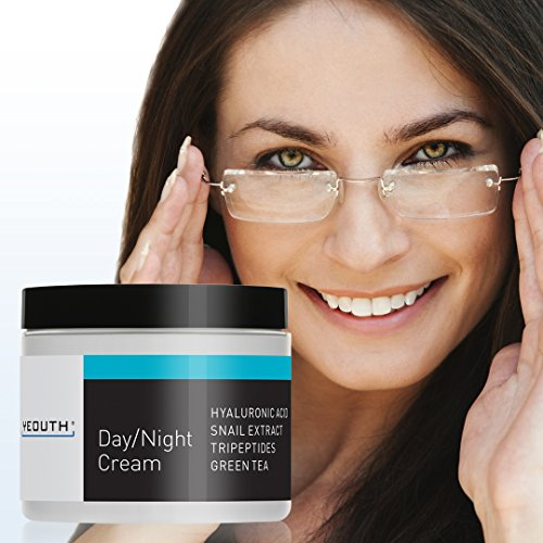YEOUTH Day Night Moisturizer for Face with Snail Extract, Hyaluronic Acid, Green Tea, and Peptides, Anti Aging Day Cream or Night Cream Moisturizer for Dry Skin, 4 oz … (4oz)