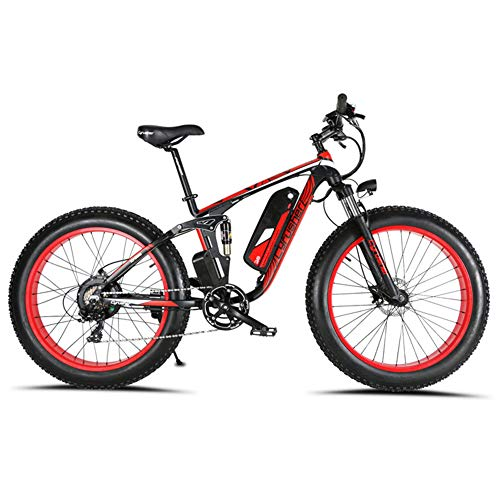 Cyrusher XF800 1000W Electric Mountain Bike 26inch Fat Tire e-Bike Shimano 7 Speeds Beach Cruiser Mens Sports Mountain Bike Full Suspension,Lithium Battery Hydraulic Disc Brakes(Red)