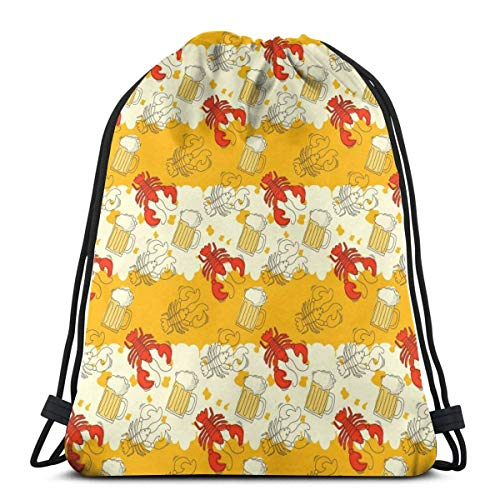 Lsjuee Classic Drawstring Bag, Bier und Crayfish Time Gym Rucksack Umhängetaschen Sport Aufbewahrungstasche für Männer Frauen