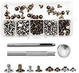 Bestgle - Lote de 120 remaches de piel de 2 colores, 2 tamaños, doble capuchón, remaches tubulares de metal, con 3 herramientas de fijación para la reparación de bricolaje y cuero