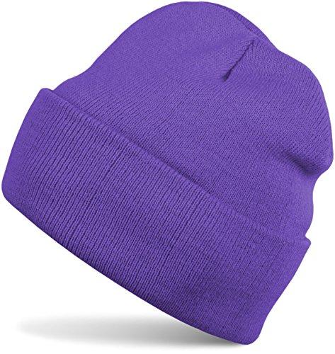 styleBREAKER Klassische Beanie Strickmütze, warme Feinstrick Mütze doppelt gestrickt, Unisex 04024029, Farbe:Lila