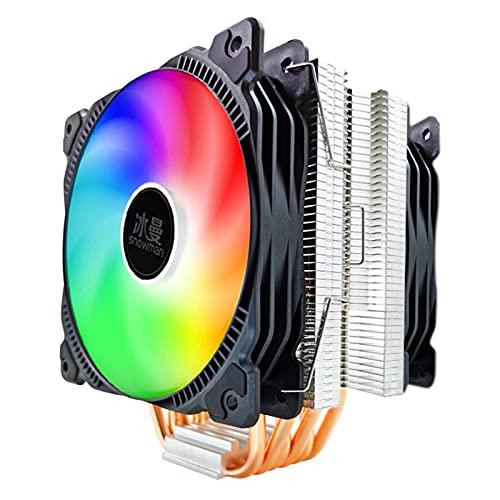 CPU Cooler 6 Tubos de Calor 120 mm 4 Pin PWM RGB para Intel LGA 1200 1150 1151 1155 2011 AMD AM4 AM3 CPU FANE DE ENFRIENCIA PC SILLAD (Blade Color : RGB 2 Fan, Blade Quantity : 4 Pin PWM)
