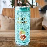 Shian Love Bicchiere d'Acqua in plastica con Coperchio Barattolo Sport all'Aria Aperta Studenti Maschi e Femmine Bere Cannuccia Cup-Pomelo