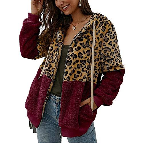 ABINGOO Cappotto Donna Casual Felpa con Cappuccio Giacca Leopardo Invernale Cerniera Giacche e Cappotti Vello Caldo Hoodies Outwear,Rosso,2XL