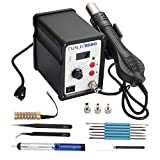 TXINLEI 858D 110V Solder Station, Digital Display SMD Hot Air Rework Station Solder Iron Kit Heat Gun, Tweezers, Desoldering Pump