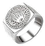 Mibuy Krone Ring Vintage Legierung Ringe Rock Fingerring Hip Hop Bandring Jubiläum Leistungsring Punkrockring Schmuck für Damen Herren