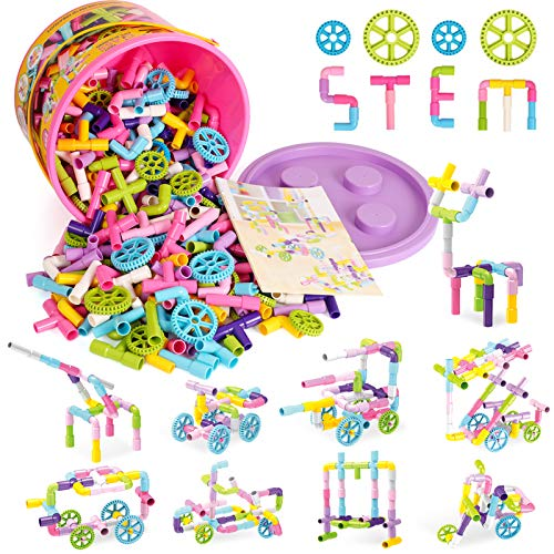 250 Pieces STEM Building Blocks Toy, Creative Tube Locks Construction...